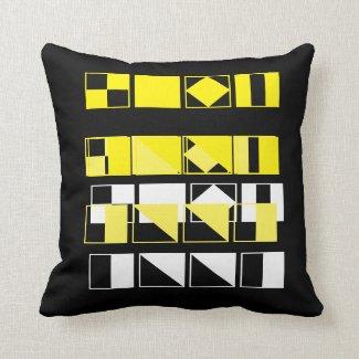 'Yellow Block' Cotton Throw Pillow