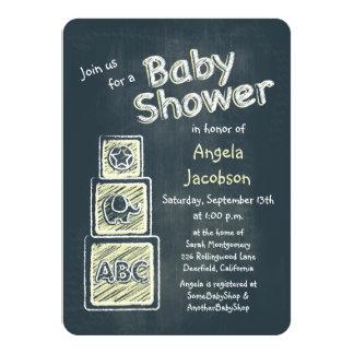 Yellow Blocks Chalkboard Baby Shower Invitation