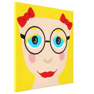 Yellow Blond Hair Blue Eyes Cute Girl Face Pop Art Canvas Print