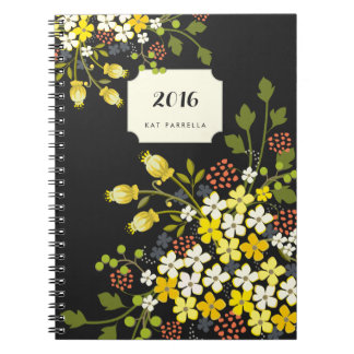 Yellow Blooms Floral Garden Personalized Notebook