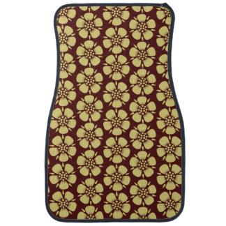 Yellow Blossoms on Red Pattern Floor Mat