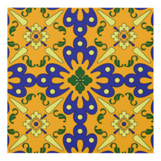 Yellow Blue And Orange Spanish Tile Pattern Panel Wall Art