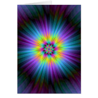 Yellow Blue and Pink Star Burst Card
