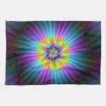 Yellow Blue and Pink Star Burst Kitchen Towels