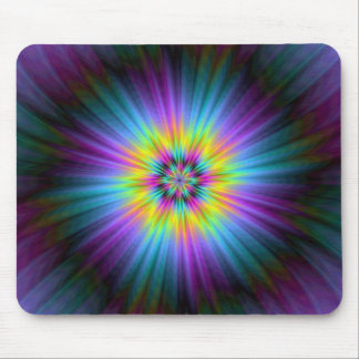 Yellow Blue and Pink Star Burst Mousepad