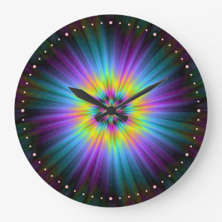 Yellow Blue and Pink Star Burst  Wall Clock