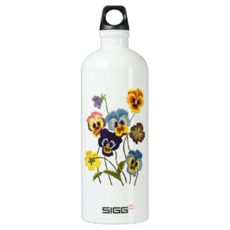 Yellow Blue and Purple Faux Embroidered  Pansies Aluminum Water Bottle