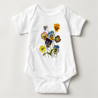 Yellow Blue and Purple Faux Embroidered  Pansies Baby Bodysuit