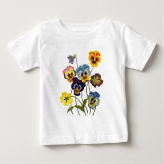 Yellow Blue and Purple Faux Embroidered  Pansies Baby T-Shirt