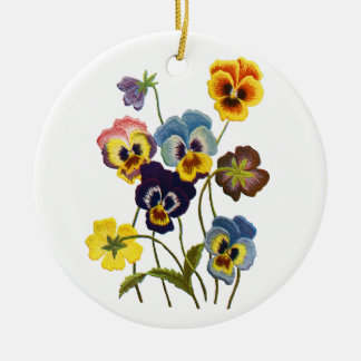 Yellow Blue and Purple Faux Embroidered  Pansies Ceramic Ornament