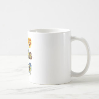 Yellow Blue and Purple Faux Embroidered  Pansies Coffee Mug