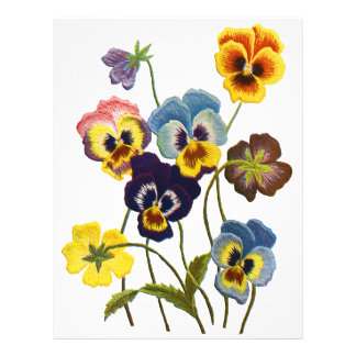 Yellow Blue and Purple Faux Embroidered  Pansies Letterhead