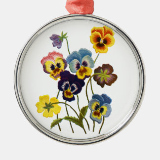 Yellow Blue and Purple Faux Embroidered  Pansies Metal Ornament
