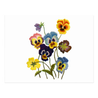 Yellow Blue and Purple Faux Embroidered  Pansies Postcard