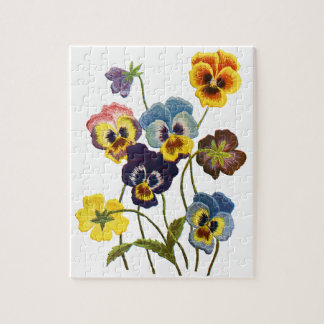 Yellow Blue and Purple Faux Embroidered  Pansies Puzzle