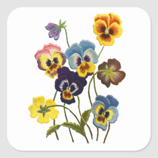 Yellow Blue and Purple Faux Embroidered  Pansies Square Sticker