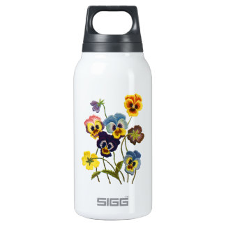 Yellow Blue and Purple Faux Embroidered  Pansies Thermos Water Bottle
