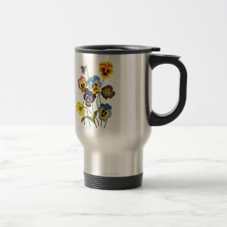 Yellow Blue and Purple Faux Embroidered  Pansies Travel Mug