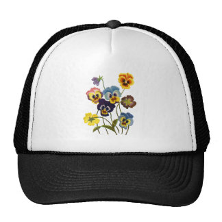 Yellow Blue and Purple Faux Embroidered  Pansies Trucker Hat