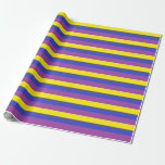 Yellow, Blue and Purple Stripes Wrapping Paper