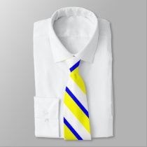 Yellow Blue and White Collegiate Stripe Tie