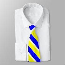 Yellow Blue and White University Stripe Tie