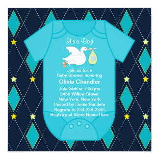 Yellow Blue Argyle Baby Boy Shower Invitations
