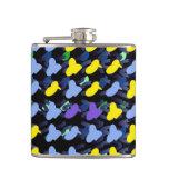 Yellow Blue Birds Hip Flasks