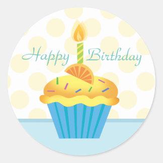 Yellow & Blue Birthday Cupcake Sticker