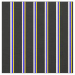 [ Thumbnail: Yellow, Blue, Bisque & Black Stripes Fabric ]