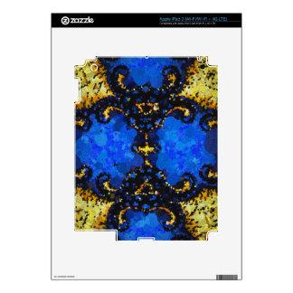 Yellow Blue Black Abstract Pattern iPad 3 Skin