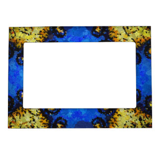 Yellow Blue Black Abstract Pattern Magnetic Frame