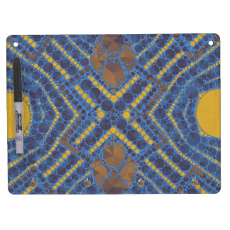 Yellow Blue Bling Abstract Dry Erase Board With Keychain Holder