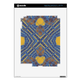 Yellow Blue Bling Abstract Skin For iPad 3