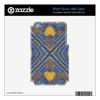 Yellow Blue Bling Abstract Skin For iPod Touch 4G