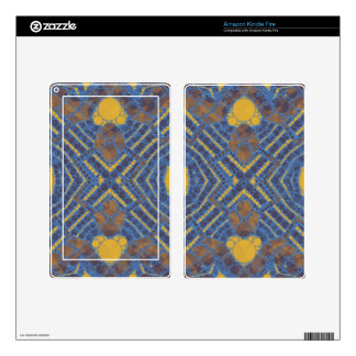 Yellow Blue Bling Abstract Skins For Kindle Fire