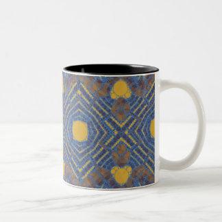 Yellow Blue Bling Abstract Two-Tone Coffee Mug