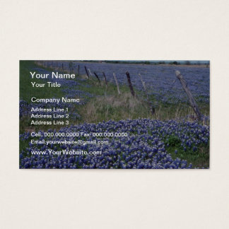 Yellow Blue bonnets flowers Business Card