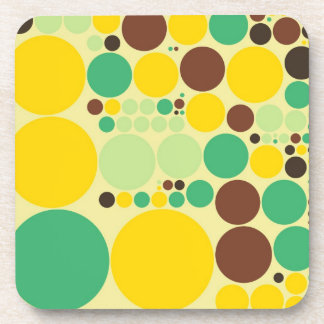 Yellow, Blue, Brown Polka Dots Pattern Beverage Coaster