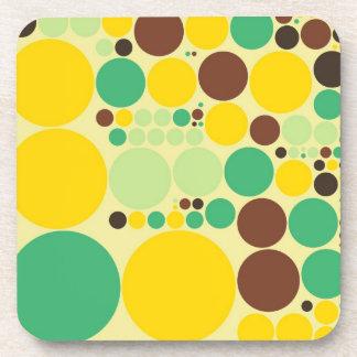 Yellow, Blue, Brown Polka Dots Pattern Beverage Coaster