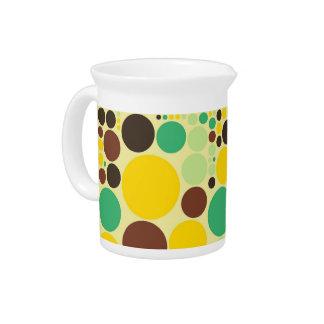 Yellow, Blue, Brown Polka Dots Pattern Beverage Pitcher