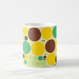Yellow, Blue, Brown Polka Dots Pattern Coffee Mug