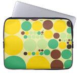 Yellow, Blue, Brown Polka Dots Pattern Laptop Sleeves