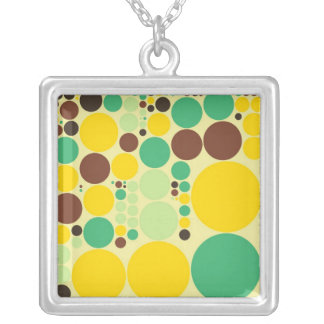 Yellow, Blue, Brown Polka Dots Pattern Silver Plated Necklace
