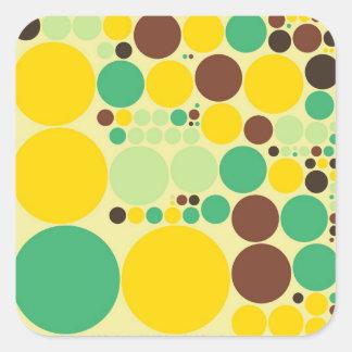 Yellow, Blue, Brown Polka Dots Pattern Square Sticker