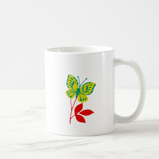 Yellow & Blue Butterfly on Fall Foliage Coffee Mug