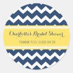 Yellow Blue Chevron Bridal Shower Favor Tags Classic Round Sticker