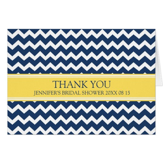 Yellow Blue Chevron Bridal Shower Thank You Card