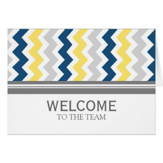 Yellow Blue Chevron Employee Welcome to the Team Card