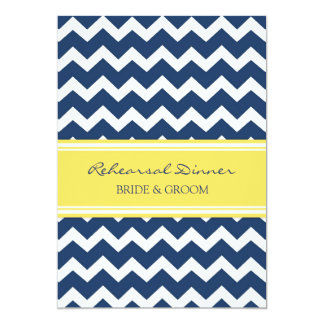 "Yellow Blue Chevron Rehearsal Dinner Party 5"" X 7"" Invitation Card"